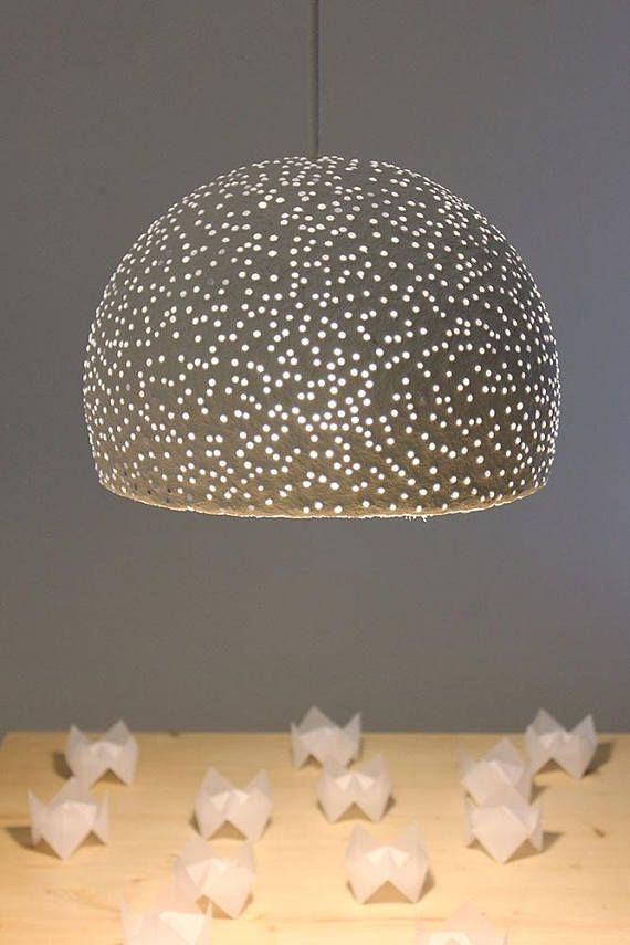 Paper Mache Pendant Light With Glass Beads Recycled Paper Shade Eco Friendly Light Hanging Light 30 Cm 12 Diameter In 2020 Pendant Light Set Pendant Light Translucent Glass