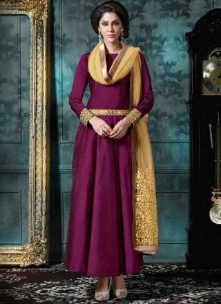 Purple Embroidery Work Silk Net Designer Long Anarkali Gown Suit http://www.angelnx.com/Salwar-Kameez/Anarkali-Suits
