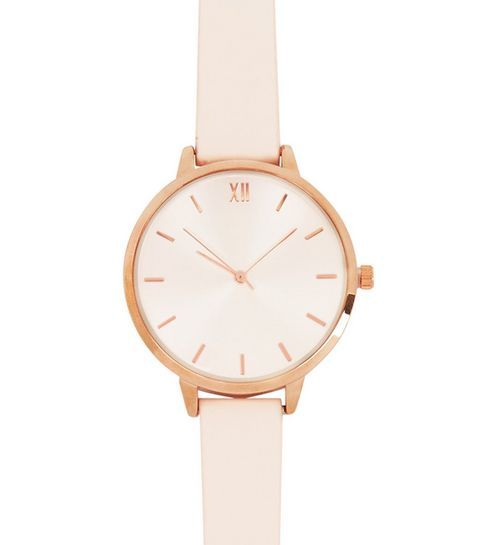Mid Pink Leather-Look Strap Watch