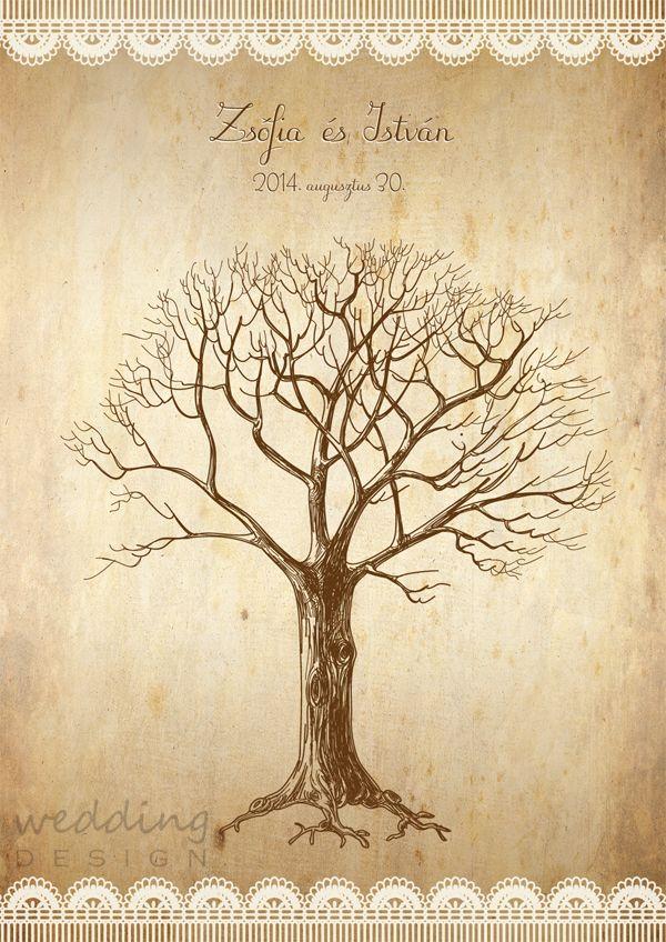 Rustic wedding tree with lace pattern - Rusztikus ujjlenyomatos plakát csipke mintával