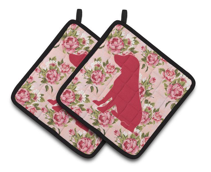 Boykin Spaniel Shabby Chic Pink Roses Pair of Pot Holders BB1070-RS-PK-PTHD