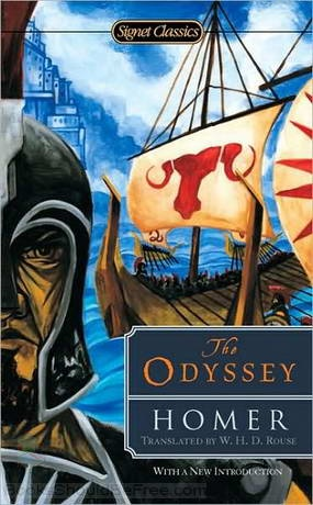 """Free downloadable audio book:  The Odyssey By: Homer-- """"The Odyssey is one of the two major ancient Greek epic poems (the other being the Iliad), attributed to the poet Homer. The poem is commonly dated to between 800 and 600 BC. The poem is, in part, a sequel to the Iliad, and concerns the events that befall the Greek hero Odysseus in his long journey back to his native land Ithaca after the fall of Troy."""""""