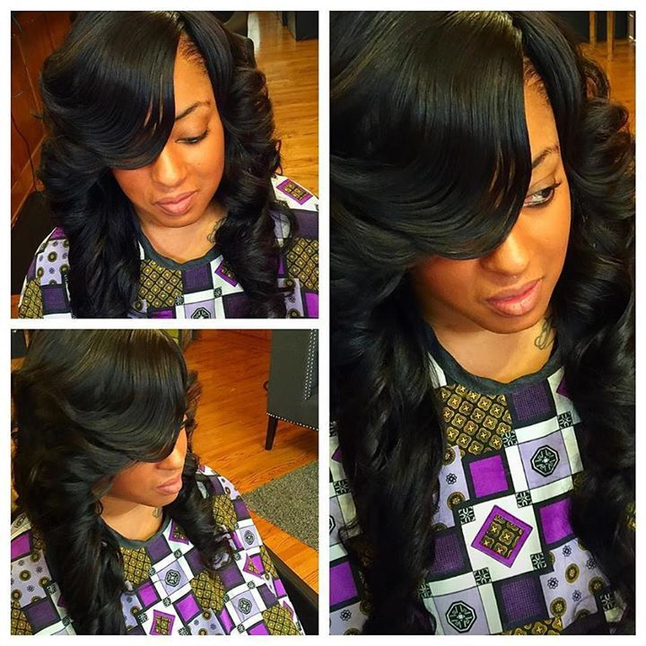 side bangs with leave out weave side part sew in with