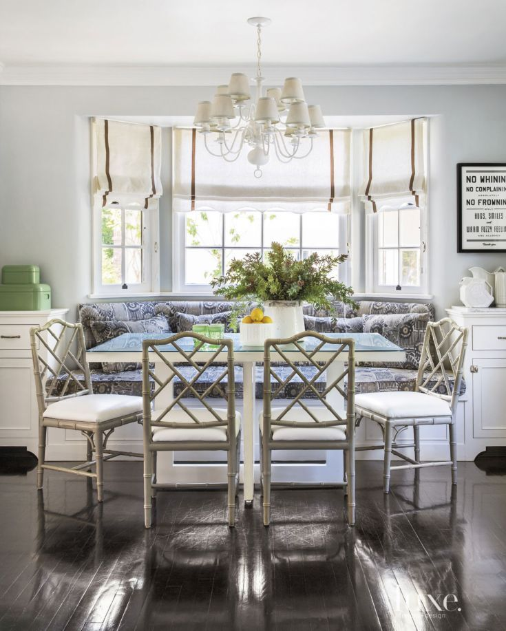 Eclectic White Breakfast Bay Window Nook Dining RoomsBlue