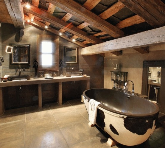 "Love the ""cabin feel"" in this treatment of a claw foot bath tub."