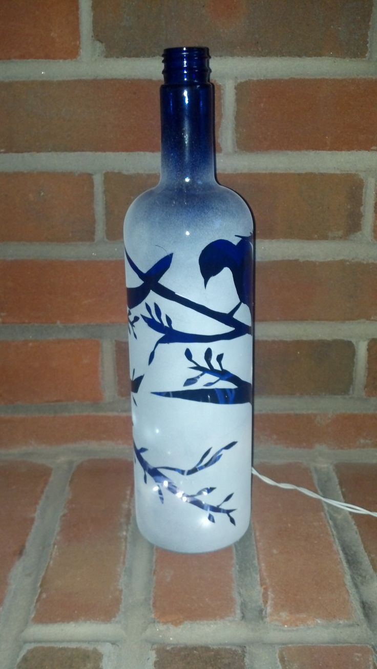 Painted Bird On Sapphire Wine Bottle Center Price Idea