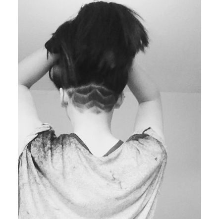 Havent seen Shaved nape with a pony tail never, and