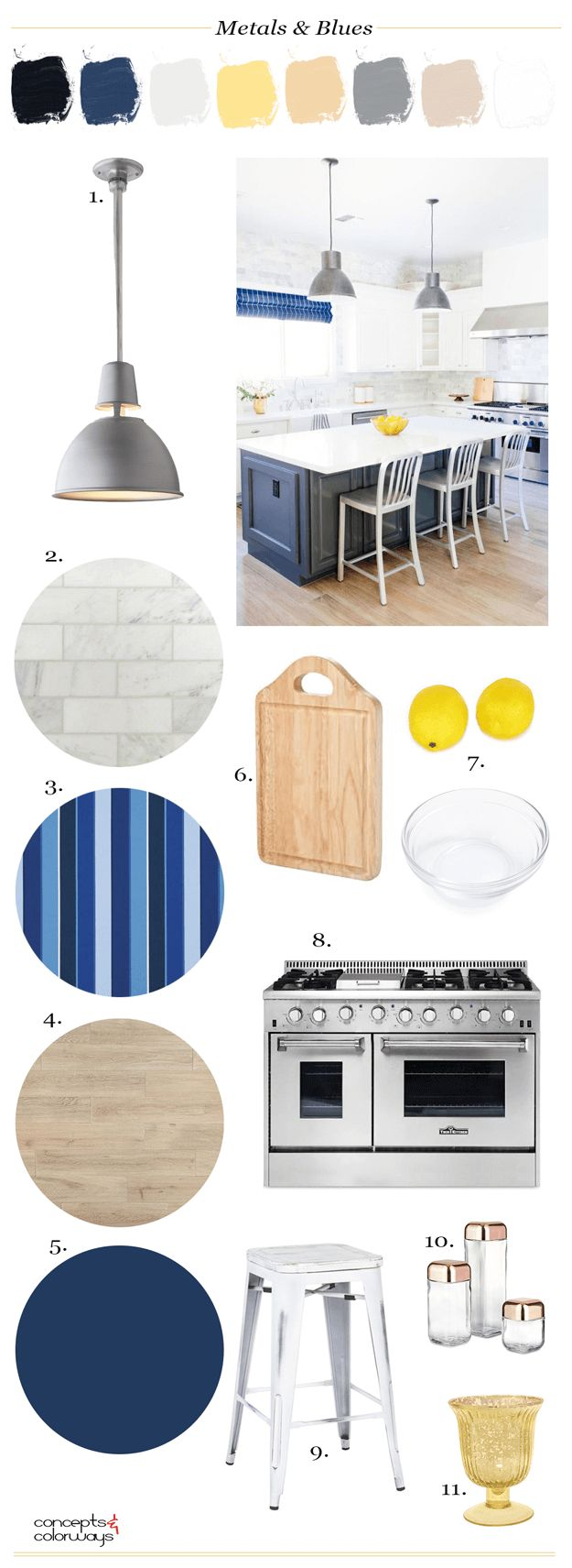 white kitchen with navy blue and stainless steel accents, pantone navy peony, navy blue, nautical style kitchen, navy and white, interior styling ideas, interior design inspiration, gold glass vase, glass canisters with copper lids, white metal stool, wood cutting board, stainless steel range, navy paint, taupe wood flooring, striped navy fabric, pale gray marble tile, galvanized metal pendant light, paint palettes
