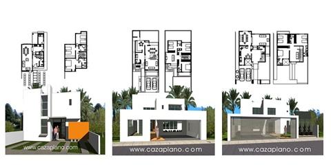 Dise os de casas con fachadas y plantas arquitect nicas for Casa moderna 7x20