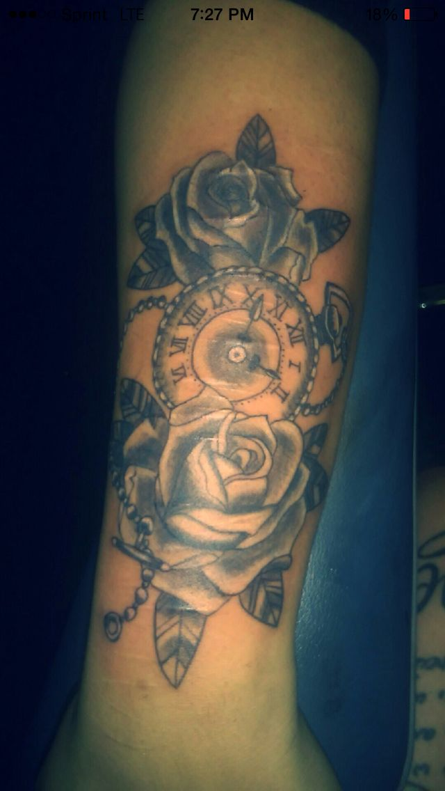 my #tattoo #roses #watch #pretty time heals all wounds.