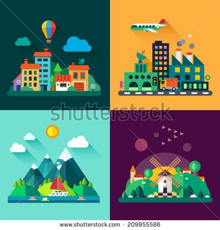 Color vector flat icon set and illustrations urban and village landscapes…