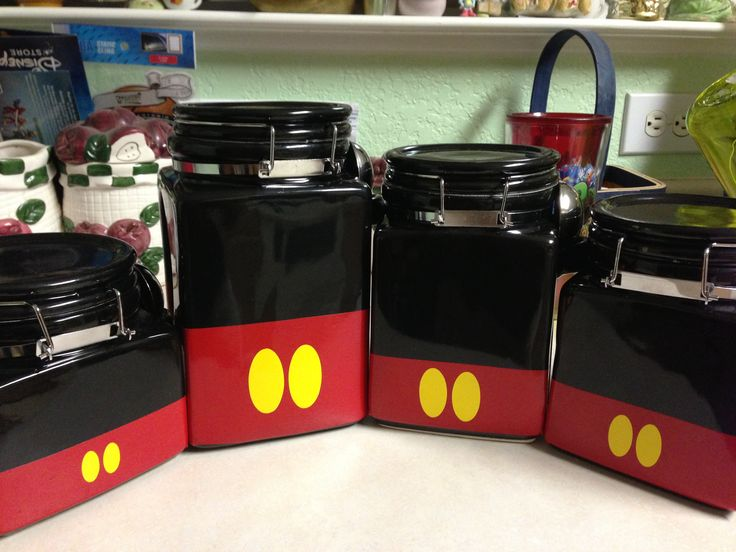 My Mickey canisters my brother in law helped me make. My original idea to Disney-fy my kitchen. I think they match my Mickey kitchen utensils I bought at WDW perfectly!