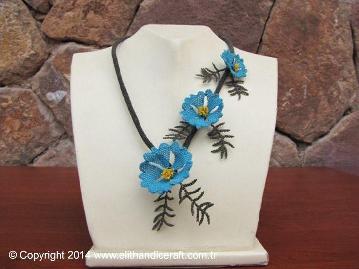 N0002 İpek İğne Oyası - Akkaya Çiçeği Kolye