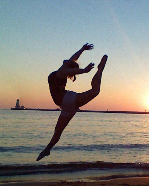 gymnastics on the beach sunset :)