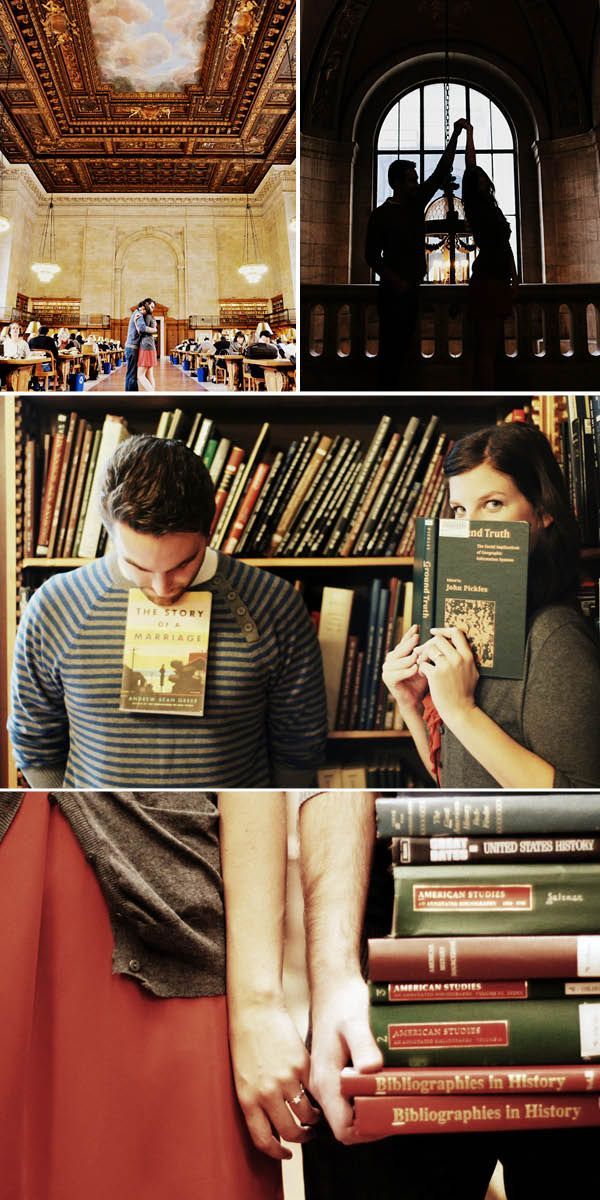 Engagement photos in a library - my husband better like to read because this is happening