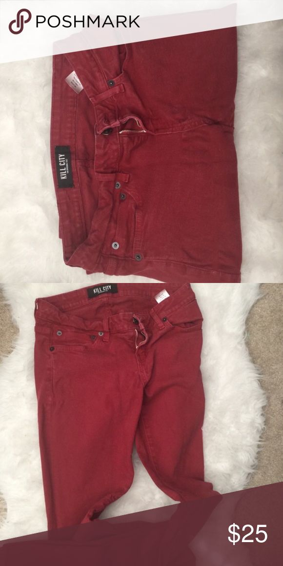 Red Kill City Jeans Dark red in color Kill City Jeans