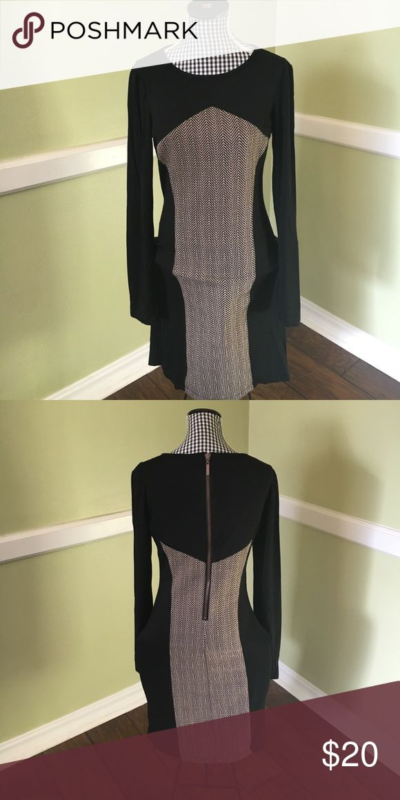 B. Smart woman's body dress in a size 4 Pre-loved and EUC B. Smart dress in a size 4   Dress features a black, and almost chevron-like pattern throughout the center of the piece, with a rayon and spandex blend of material.   Molly the mannequins figure simply does not do this dress justice!    Dress comes from a clean, smoke free home B. Smart Dresses
