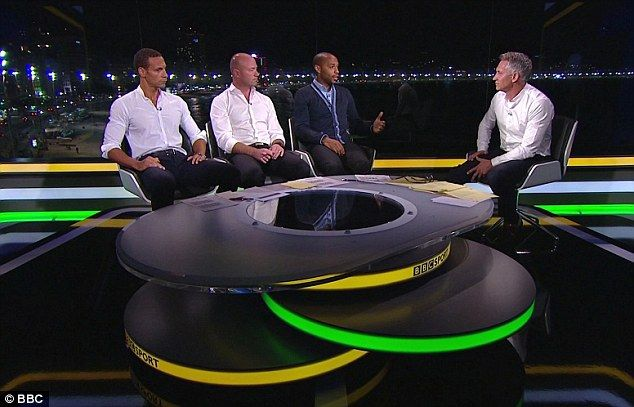 Gary Lineker alongside Rio Ferdinand, Alan Shearer and Thierry Henry in the BBC studio
