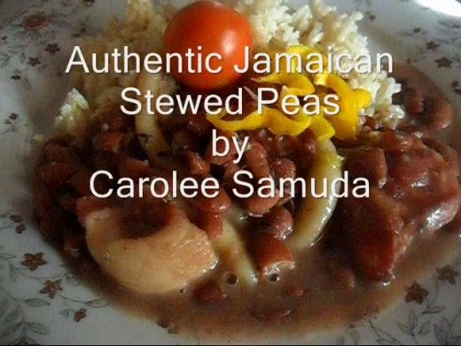A kidney beans recipe that is one of Jamaica's most popular. This dish uses pig's tail, with or without salt beef and red kidney beans. It is called stewed peas.