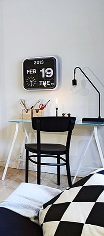 Via Home and Interiors | Black and White | Home Office | Karlsson Flip Clock