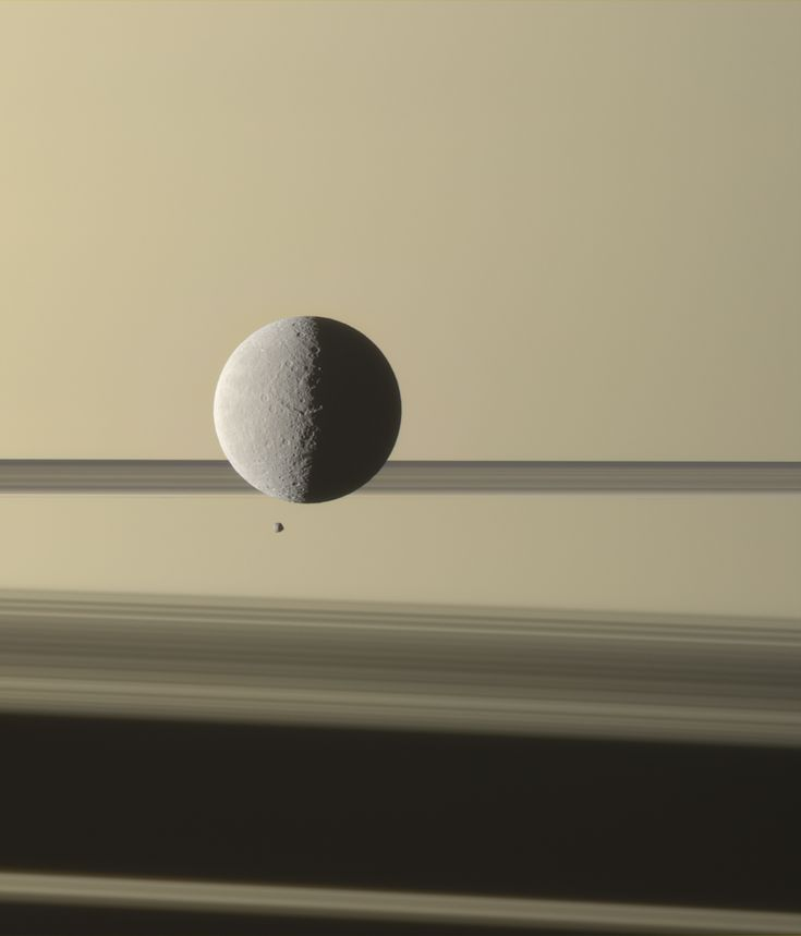 WIRED Space Photo of the Day for August 2014 | August 16, 2014: Rhea and Epimetheus Transiting  NASA/JPL-Caltech/Space Science Institute
