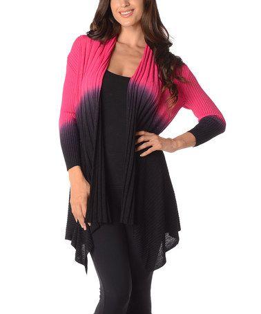 Look at this #zulilyfind! Magenta & Black Color Block Open Cardigan - Plus by Diva Designs #zulilyfinds