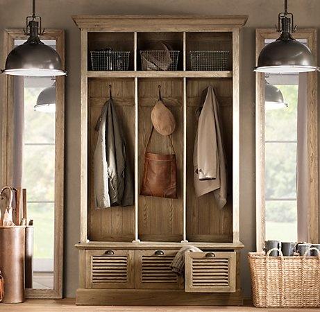 Minus the lightsIdeas, Storage Solutions, Restoration Hardware, Mudroom, Coats Closets, Mud Rooms, Hallways Storage, Lockers, Entryway