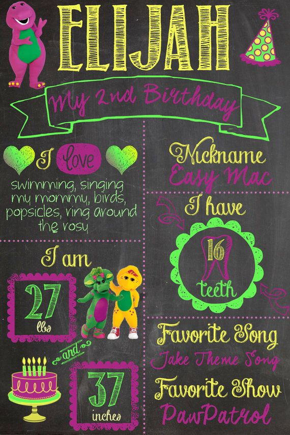 barney birthday chalk board invitation second birthday party chalkboard