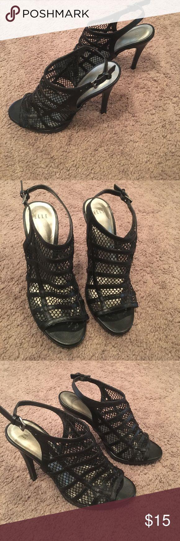 Elle Black shoes Super comfy Elle Black heels. Good condition with adjustable strap around heel fishnet front with open toe Elle Shoes Heels
