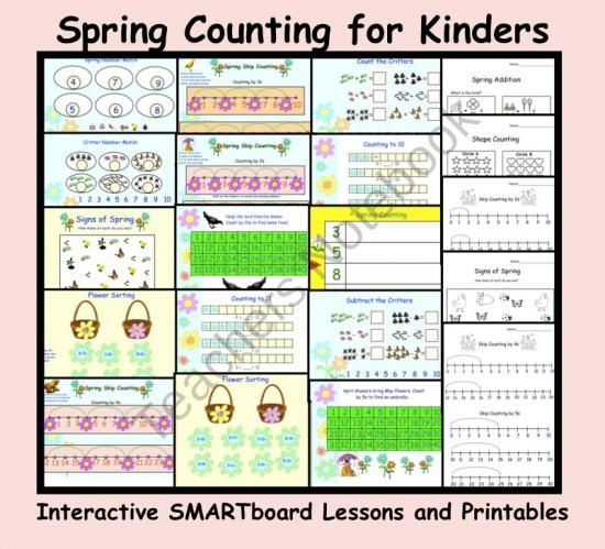 Spring Counting for Kinders: Interactive SMARTboard Lessons with Printables from Teaching The Smart Way on TeachersNotebook.com (20 pages)
