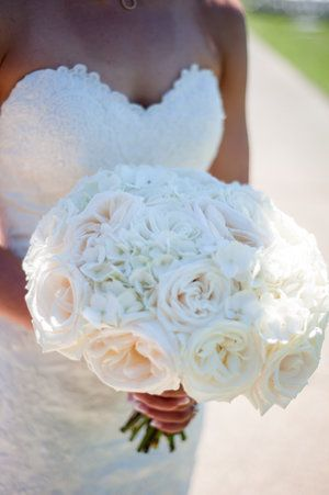 round bridal bouquet of white hydrangea and roses Bridalbliss.com | Portland Wedding Planning | Oregon Event Design | Powers Studios