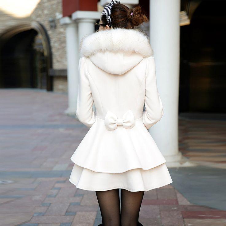 2016 áo khoác mùa đông phụ nữ trung dài nữ áo khoác mỏng đôi ngực cổ áo lông thú trùm đầu của phụ nữ nơ thời trang lovely áo khoác ngoài
