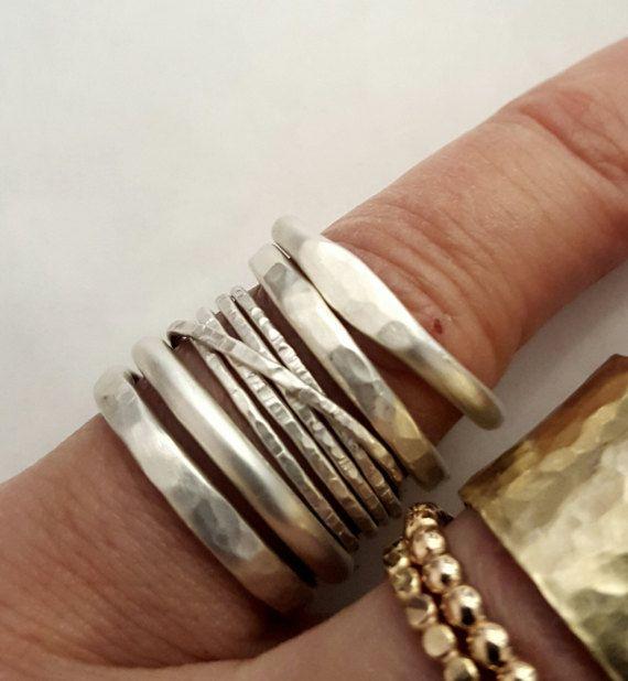 Five Silver Stacking Rings Rings Set Handmade by VenexiaJewelry