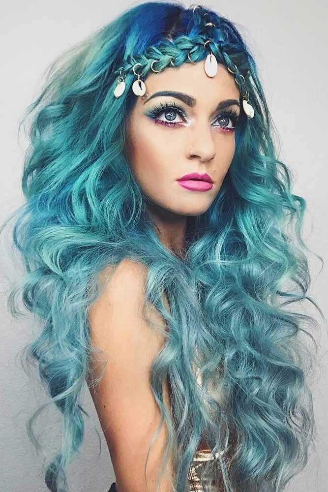 25 Easy Halloween Hairstyles To Make The Day Lovehairstyles Halloween Hair Mermaid Hair Hair Styles