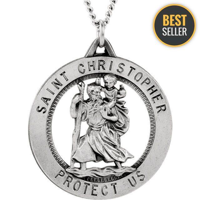 Sterling Silver 25.25mm St. Christopher Medal Necklace  #Unbranded