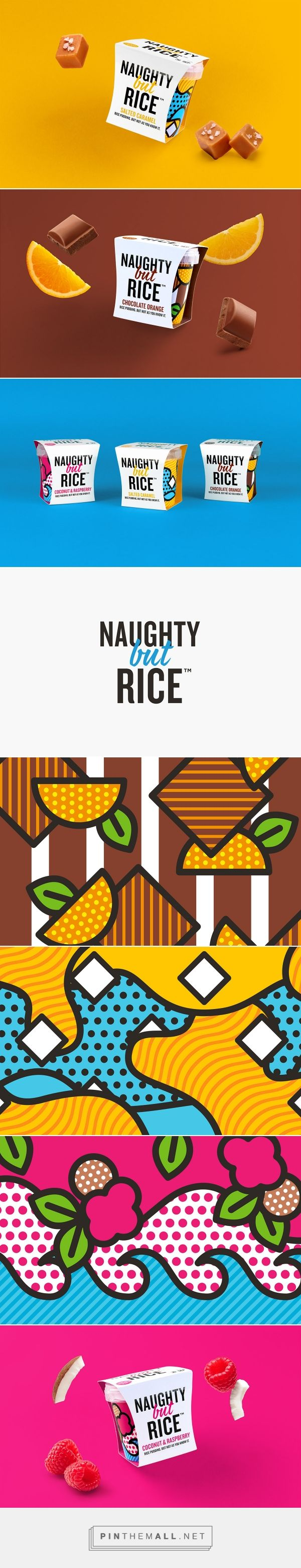 Naughty But Rice packaging on Behance by Robot Food curated by Packaging Diva PD. Bold, striking colours and vivid illustrations for the small pudding pots, to represent the delicious flavours. Yumm : )