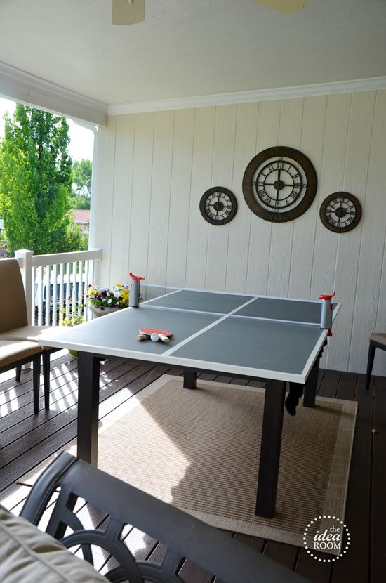 DIY Ping-Pong-Table--Doubles as a chalk board when not in use.  Just set it on top of a table and the game is on.