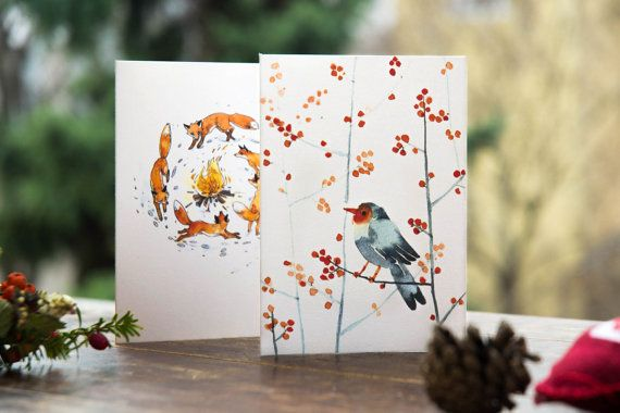 Robin and fox christmas cards | set of two winter greeting cards