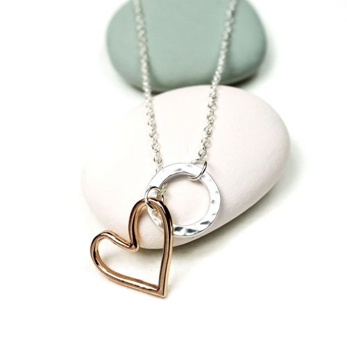 Matt Silver Plated Circle and Gold Plated Heart Drop Necklace | eBay