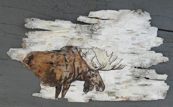 Birch Bear II | Hand Painted Moose on Birch Bark Framed by patmorrisartist on Etsy