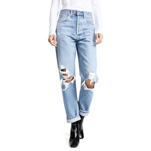 AGOLDE '90s Fit Mid Rise Loose Fit Jeans ($180) ❤ liked on Polyvore featuring jeans, fall out, blue jeans, loose jeans, cuff jeans, cuffed jeans and medium rise jeans