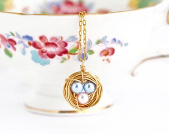 Gift For Women Gift For Mom Bird Nest Necklace Pearl Eggs