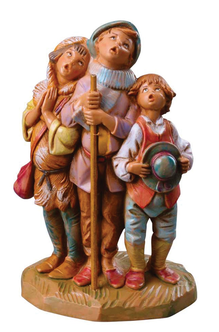 "Three beautiful boys split up between childless families are later reunited and recognized for their melodious voices, which blended so wonderfully together. Item# 65182. The entire story can be read in our ""Nativity Stories"" book, exclusively by Roman. @Fontanini"
