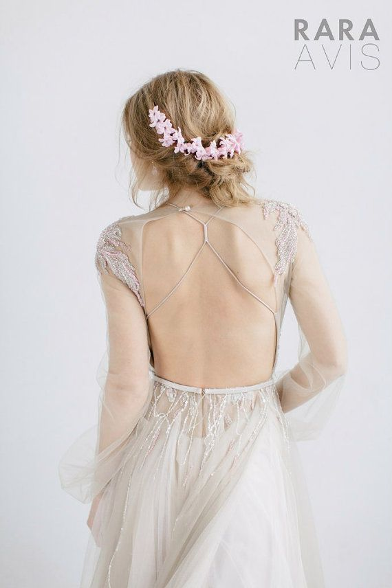 SANDRA, wedding dress, long-sleeved wedding dress, simple wedding dress