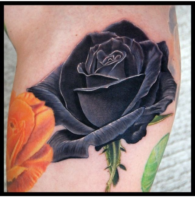 Reference for black rose, add blue/ purple. last big flower. forearm by dahlia.