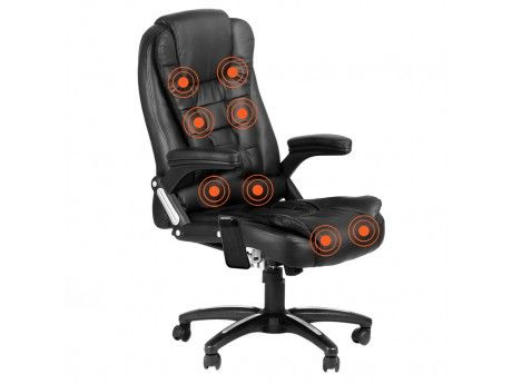 Increase comfort and productivity in your home office with this 8 point massage executive PU leather office computer chair.