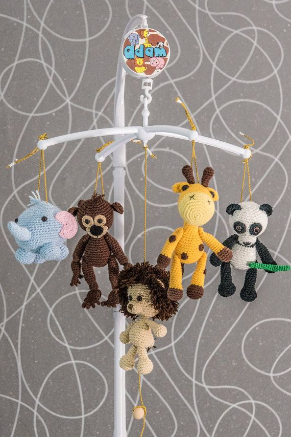 Crochet mobile  crochet baby mobile  baby crib  toy by PaniJani