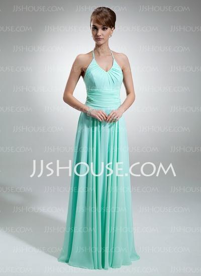 Bridesmaid Dresses - $108.99 - A-Line/Princess Halter Floor-Length Chiffon Bridesmaid Dresses With Ruffle (007001756) http://jjshouse.com/A-Line-Princess-Halter-Floor-Length-Chiffon-Bridesmaid-Dresses-With-Ruffle-007001756-g1756