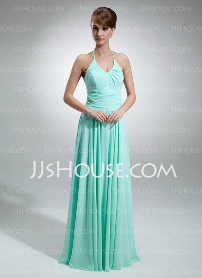 Bridesmaid Dresses - $108.99 - A-Line/Princess Halter Floor-Length Chiffon Bridesmaid Dresses With Ruffle (007001756) http://jjshouse.com/A-Line-Princess-Halter-Floor-Length-Chiffon-Bridesmaid-Dresses-With-Ruffle-007001756-g1756