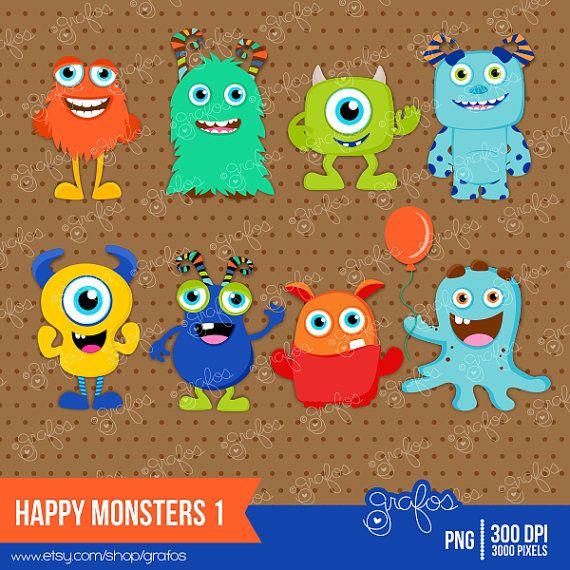 HAPPY MONSTERS 1 Digital Clipart Imagenes Monstruos / por grafos